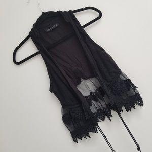 Zara Woman Boho Black Embroidered Vest Sz M